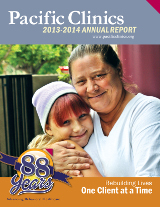 Cover of the 2013-2014 Pacific Clinics Annual Report titled Rebuilding Lives One Client at a Time.