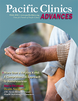 "Cover of Advances Magazine. Fall 2016. Dirty hands cupped facing up and reaching out. Titled ""More than a Helping Hand: A Comprehensive Approach to Homelessness"""