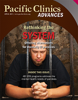 "Cover of Advances Magazine. Spring 2015. Young bald man with goatee praying behind bars. Titled ""Rethinking the SYSTEM. Offering alternatives for mentally ill parolees"""