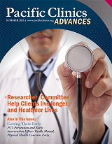 "Cover of Advances Magazine. Summer 2013. Doctor holding a stethascope. Titled ""Researcher, Committee Help Clients live longer and Healthier Lives."""