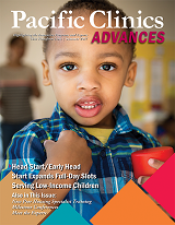 "Cover of Advances Magazine. Summer 2017. Young child looking straight ahead with an out of focus adult in the background. Titled ""Head Start/Early Head Start Expands Full-Day Slots Serving Low-Income Children"""