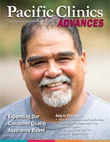 "Cover of Advances Magazine. Winter 2018. Older man with greying goatee smiles looking straight ahead. Titled ""Expanding Our Consumer Quality Assurance Board."""