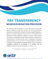 "Flyer with text saying, ""PAY TRANSPARENCY. NONDISCRIMINATION PROVISION"""