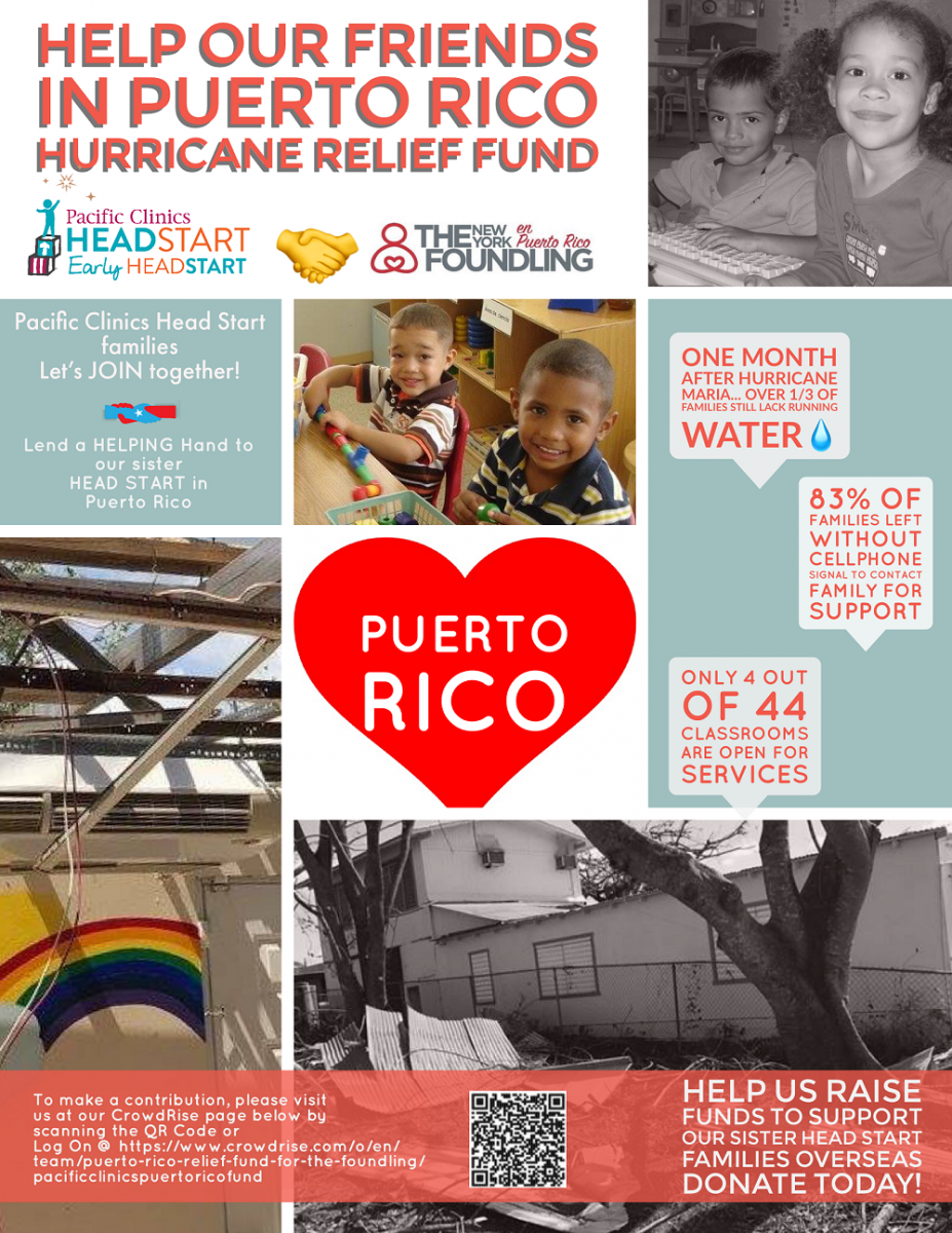Pacific Clinics Head Start / Early Head Start Puerto Rico Hurricaine Relief Fund