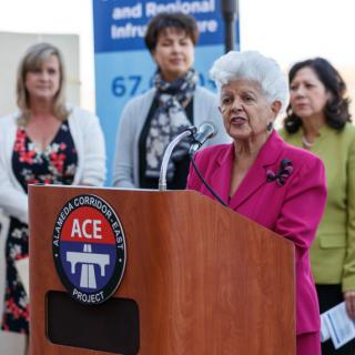 U.S. Congrasswoman Grace Napolitano speaks at a podium.