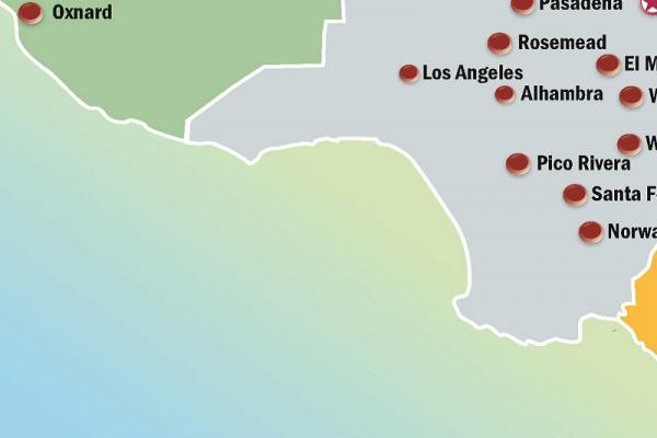 Partial map of Pacific Clinics locations in Southern California.