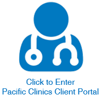 Outline of a doctor with a stethoscope. Text reads Click to Enter Pacific Clinics Client Portal.